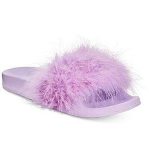INC marabou feathers slide slippers LILAC 11-12